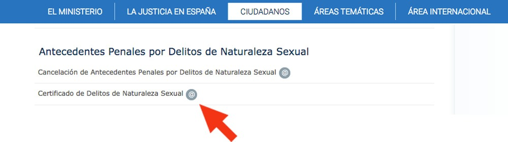 certificado de delitos de naturaleza sexual